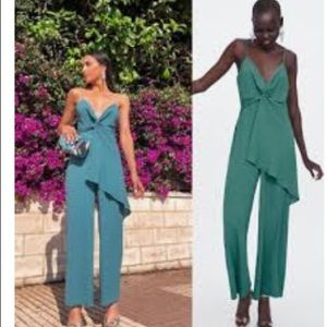 Zara Strappy jumpsuit with ruffles NWT